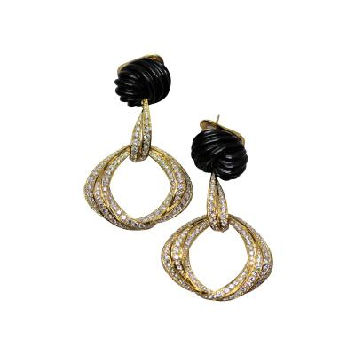 Spectacular Black Jade and Diamond Earrings by Robert Wander