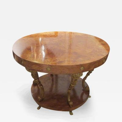 Spectacular Burl Walnut Center Table in the Neoclassical Manner