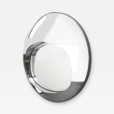 Spectacular Chromed Futuristic Mirror France 1970s