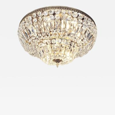 Spectacular Crystal and Brass Flush Mount chandelier two available