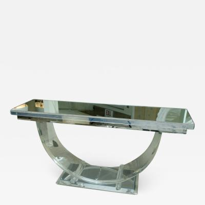 Spectacular Mid Century Lucite Console with Mirrored Top and U Shaped Base