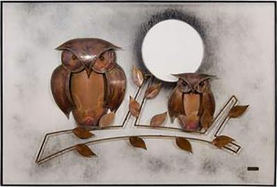 Spectacular Midcentury Signed Oil on Board with Hand Formed Copper Owls