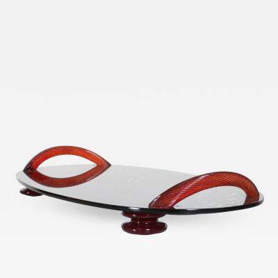 Spectacular Modern Flair Footed Serving Tray in Smoke Glass Ruby Red Handles