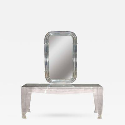 Spectacular Modernist Custom Designed Lucite Mirror and Console