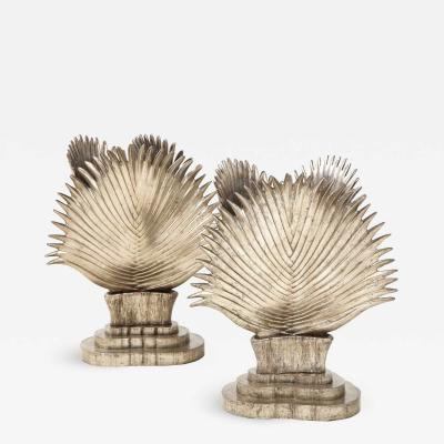 Spectacular Pair of Italian Ceramic Palm Frond lamps