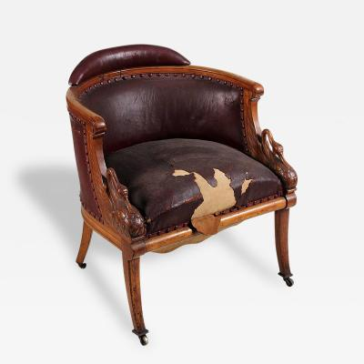 Spectacular Swan Form Empire Mahogany Leather Tub Armchair