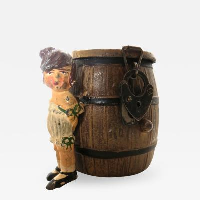Spelter Still Bank Girl By A Barrel German Circa 1908