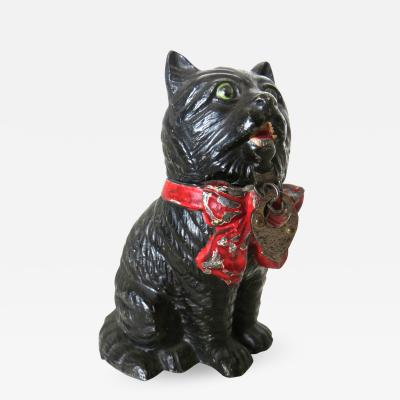 Spelter Still Bank Seated Cat With A Bow German Circa 1920