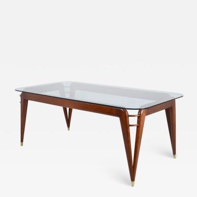 Splendid Italian 1950s dining table in mahogany