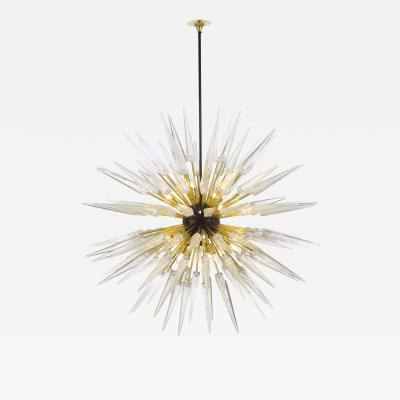 Sputnik Shard Chandelier with Murano Glass and Brass Made in Italy