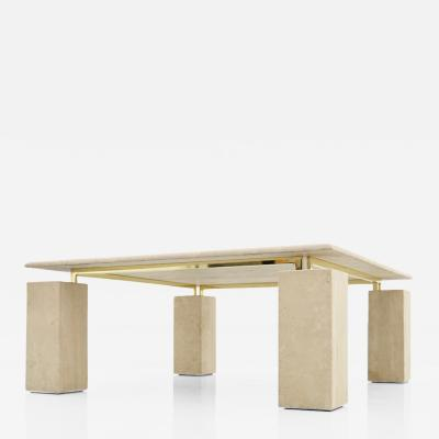 Square Coffee Table in Italian Travertine with Floating Table Top 1970s