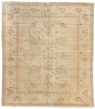Square Ivory Coral Floral Persian Rug Sultanabad Design