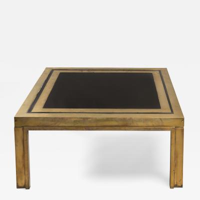 Square Low Table In Brass And Glass Italy 1970s