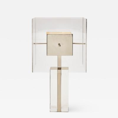 Square Lucite and Metal Table Lamp