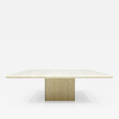 Square Travertine Coffee Table Italy 1970s