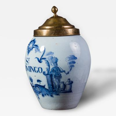 St Domingo Delft Tobacco Jar