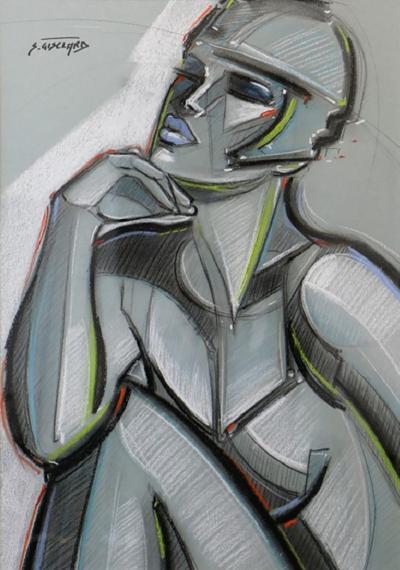 St phane Gisclard Jeune Femme au Casque Pastel by S Gisclard