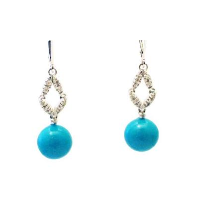 Stabilized Turquoise with Diamonds Earrings 14KT White Gold