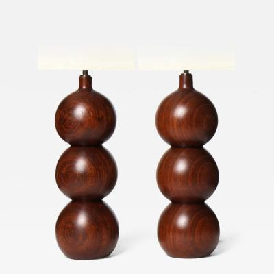 Stacked Sphere Walnut Table Lamps
