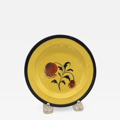 Staffordshire Canary Yellow Plate with Pomegranate Circa 1820