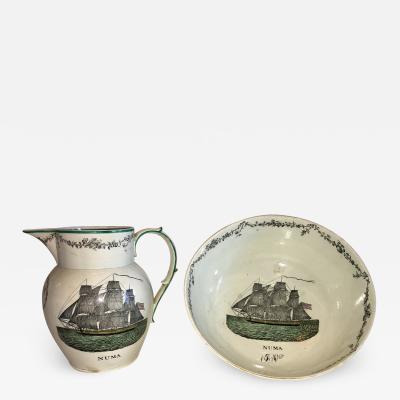 Staffordshire Creamware Liverpool Bowl and Pitcher Set Ship Numa Ca 1800