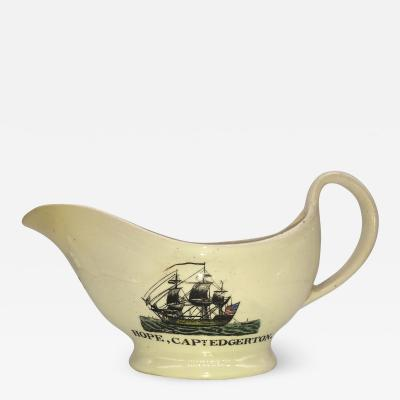 Staffordshire Creamware Liverpool Polychrome U S Ship Creamer Ca 1800