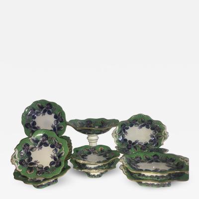 Staffordshire Davenport 24 Piece Desert Set Nectarine pattern Ca 1850