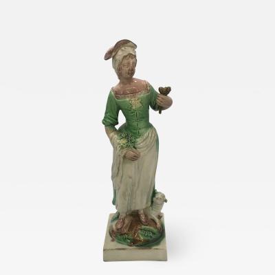 Staffordshire Pearlware Figure Shepherdess with Sheep Ralph Wood Ca 1790