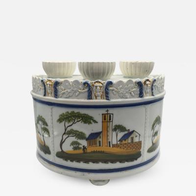 Staffordshire Pearlware Leeds Bulb Pot with Lid Circa 1820