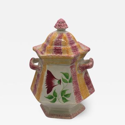 Staffordshire Rainbow Spatterware Spatter Sugar Bowl Thistle Ca 1830