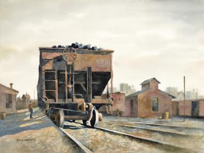 Stan Masters Coal Car Inspection Watercolor on Paper