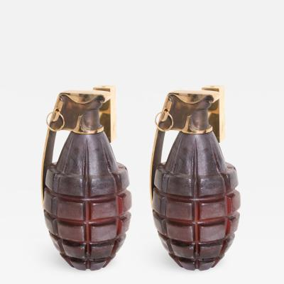 Stan Usel Pair of Sconces grenade by Stan Usel in solid bronze and red glass paste