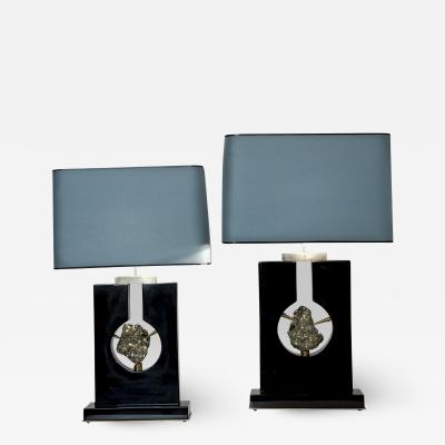 Stan Usel Pair of Table Lamps Black Resin and Pyrite by Stan Usel