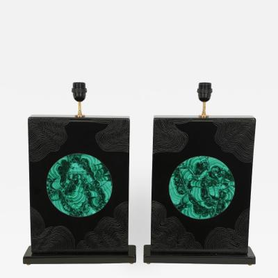 Stan Usel Pair of black resin and malachite table lamps by Stan Usel