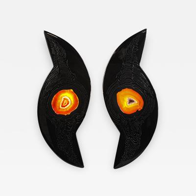 Stan Usel Pair of black resin sconces and agates by Stan Usel