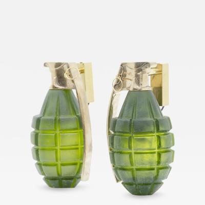 Stan Usel Pair of grenade sconces by Stan Usel green molten glass