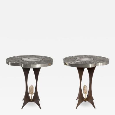 Stan Usel Pair of pedestale Tables by Stan Usel