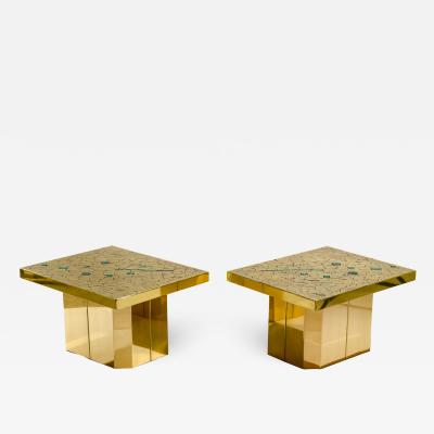 Stan Usel Pair of side table in mosaic brass and malachite by Stan Usel