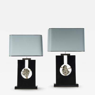 Stan Usel Pair of table lamps in black resin and pyrite by Stan Usel