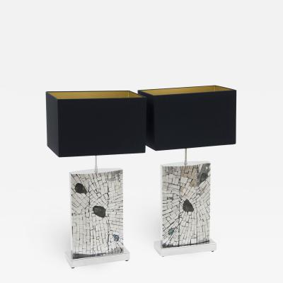 Stan Usel Pair of table lamps mosaic stainless steel inlaid Labradorite by Stan Usel