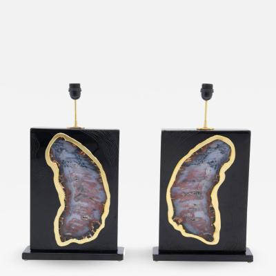Stan Usel Pair of tables lamps black resin inlay huge agates by Stan Usel