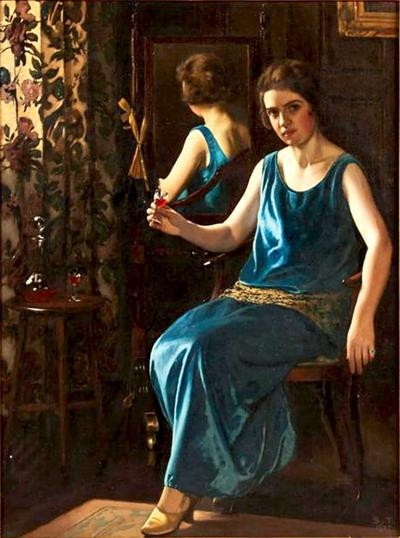 Stanley Thompson English Art Deco Painting of the Blue Girl by Stanley Thompson