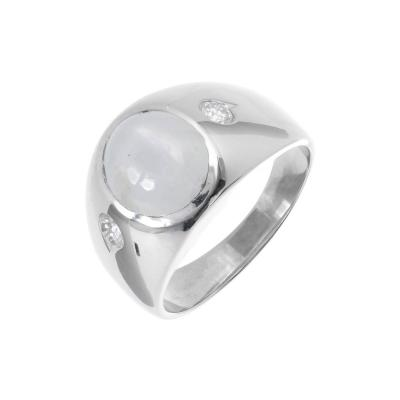 Star Sapphire Diamond Mens White Gold Three Stone Ring