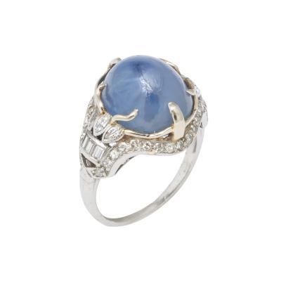 Star Sapphire and Diamond Platinum Ring