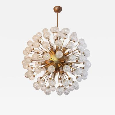 Starburst Sputnik Chandelier with Brass Frame and Flower Shaped Glass 1980s