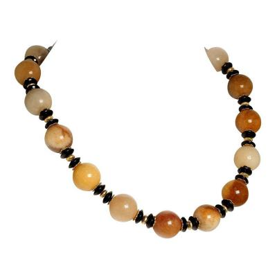 Statement Necklace in Shades of Golden Jade Black Tourmaline with golden accents