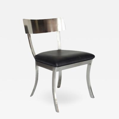 Steel And Black leather Klismos Style chairs