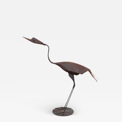 Steel Heron Folk Art Sculpture