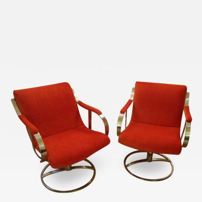 Steelcase Co Chrome Steelcase Swivel Lounge Chairs Mid Century Orange Mohair