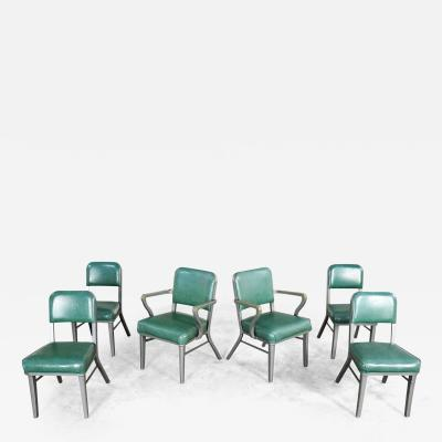 Steelcase Co Industrial modern metal green vinyl faux leather dining chairs style 145